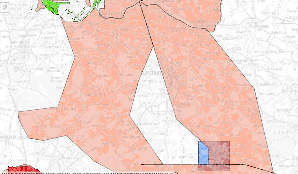 Erlaubnisfelder in Nordostniedersachsen Quelle: LBEG-Kartenserver