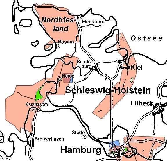 Aufsuchungserlaubnisse für Kohlenwasserstoffe (rot) in Schleswig-Holstein Quelle: LBEG-Kartenserver