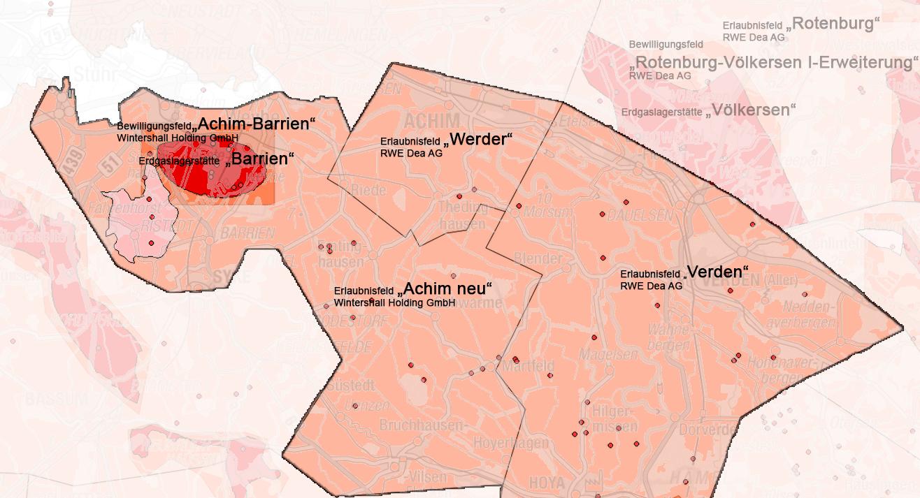 Karte mit den hervorgehobenen Erlaubnissen Achim (neu), Verden und Werder.