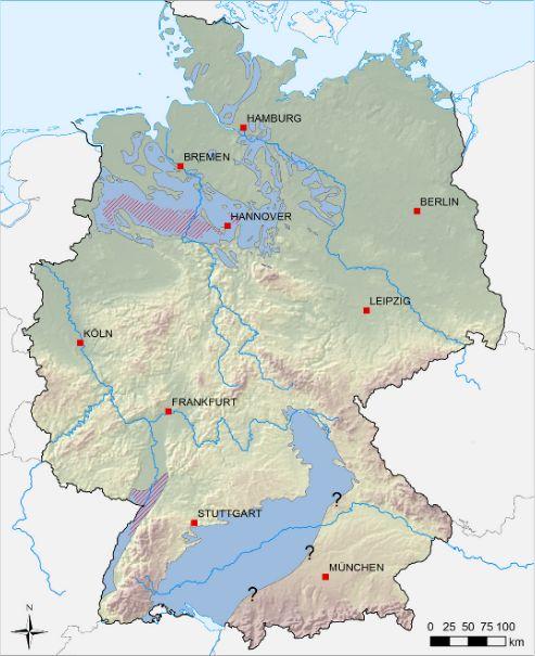 Verbreitung des Posidonienschiefer in Deutschland. Rot schraffiert Gebiete mit Schiefergaspotenzial. Quelle: BGR*