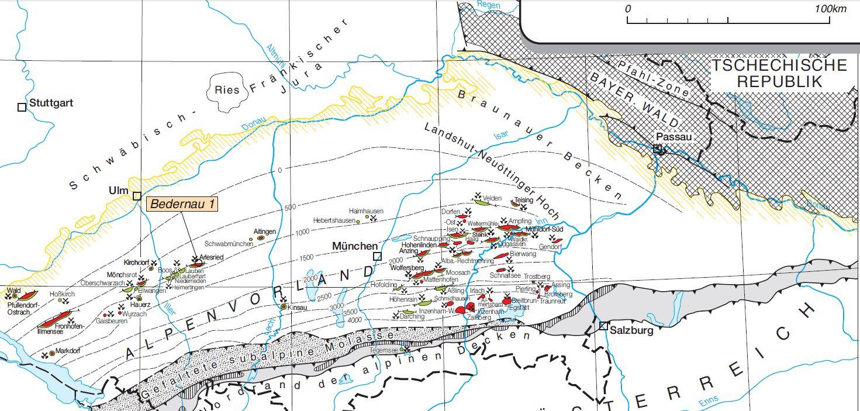 Erdöl-Erdgasfelder im deutschen AlpenvorlandQuelle:      Erdöl und Erdgas in der Bundesrepublik Deutschland 2013