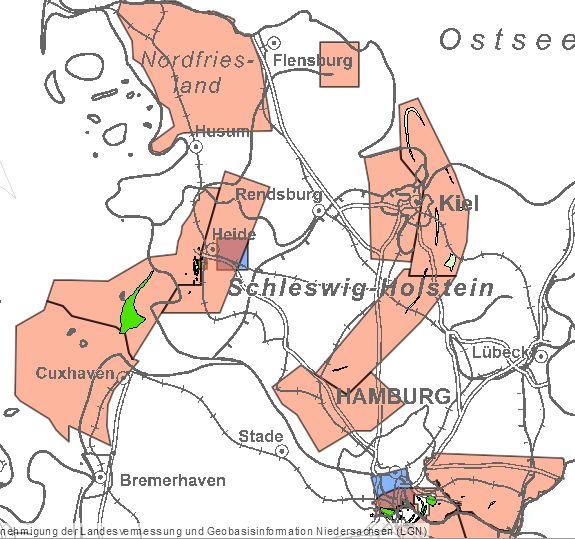 Erteilte Aufsuchungserlaubnisse für Kohlenwasserstoffe (rote Flächen) in Schleswig-Holstein, Quelle: NIBIS-Kartenserver des LBEG