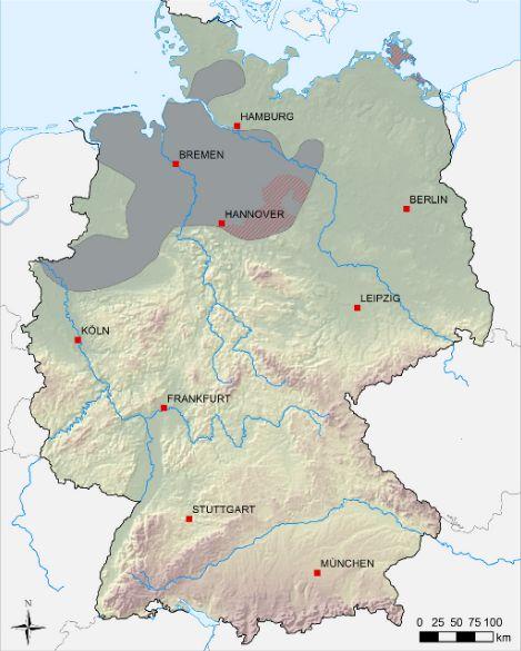 Verbreitung bituminösen Tonsteins im Unterkarbon - rot schraffiert Gebiete mit Schiefergaspotenzial. Quelle: Abschätzung des Erdgaspotenzials aus dichten Tongesteinen (Schiefergas) in Deutschland (BGR 2012)