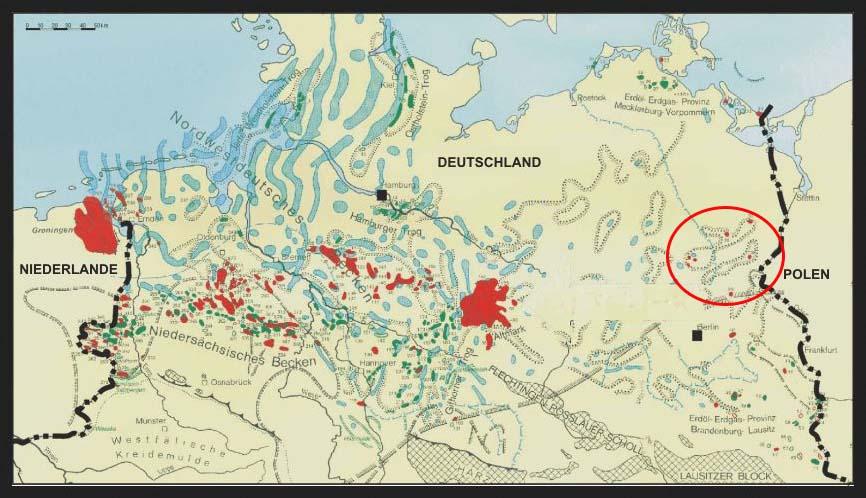 Kohlenwasserstofflagerstätten in Norddeutschland. Innerhalb der Ellipse die sehr kleinen Vorkommen in Nordostbrandenburg. Quelle: http://www.clean-altmark.org (verändert)