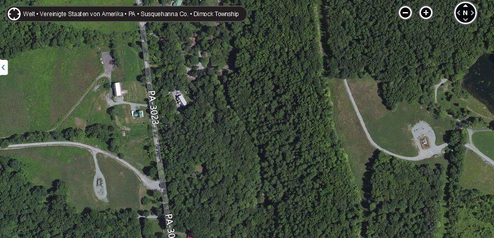 """Schiefergasförderung in der Nähe von Dimock, Pennsylvania. Alles andere als eine """"verwüstete Landschaft"""" Quelle: BingMaps."""