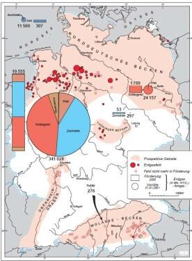 Verteilung der Erdgasförderung und der Erdgasreserven in Deutschland 2014. Quelle: LBEG