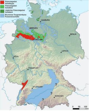Übersichtskarte der Schieferöl-/Schiefergaspotenziale im jurassischen Posidonia Quelle: BGR 2016, NiKo-Studie