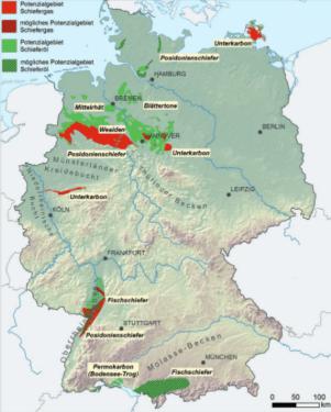 Übersichtskarte von Gebieten mit Schieferöl-/Schiefergaspotenzial sowie möglichen Poztenzialen Quelle: BGR 2, NiKo-Studie016
