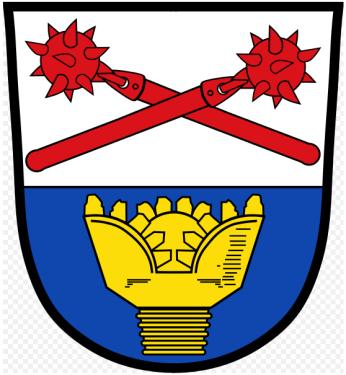 Wappen mit Rolenmeißel der Gemeinde Ampfing