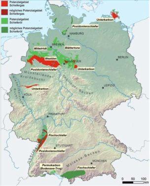 Gebiete mit Schiefergas-/öl und möglichem Schiefergas-/öl - Potenzial in Deutschland. Quelle: