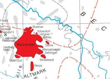 Erdgaslagerstätte Altmark mit Teillagerstätten. Quelle: LBEG-Jahresbericht 2005