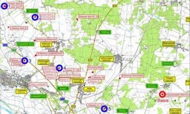 Übersichtskarte der Messtationen über Gaslagerstätte Völkersen